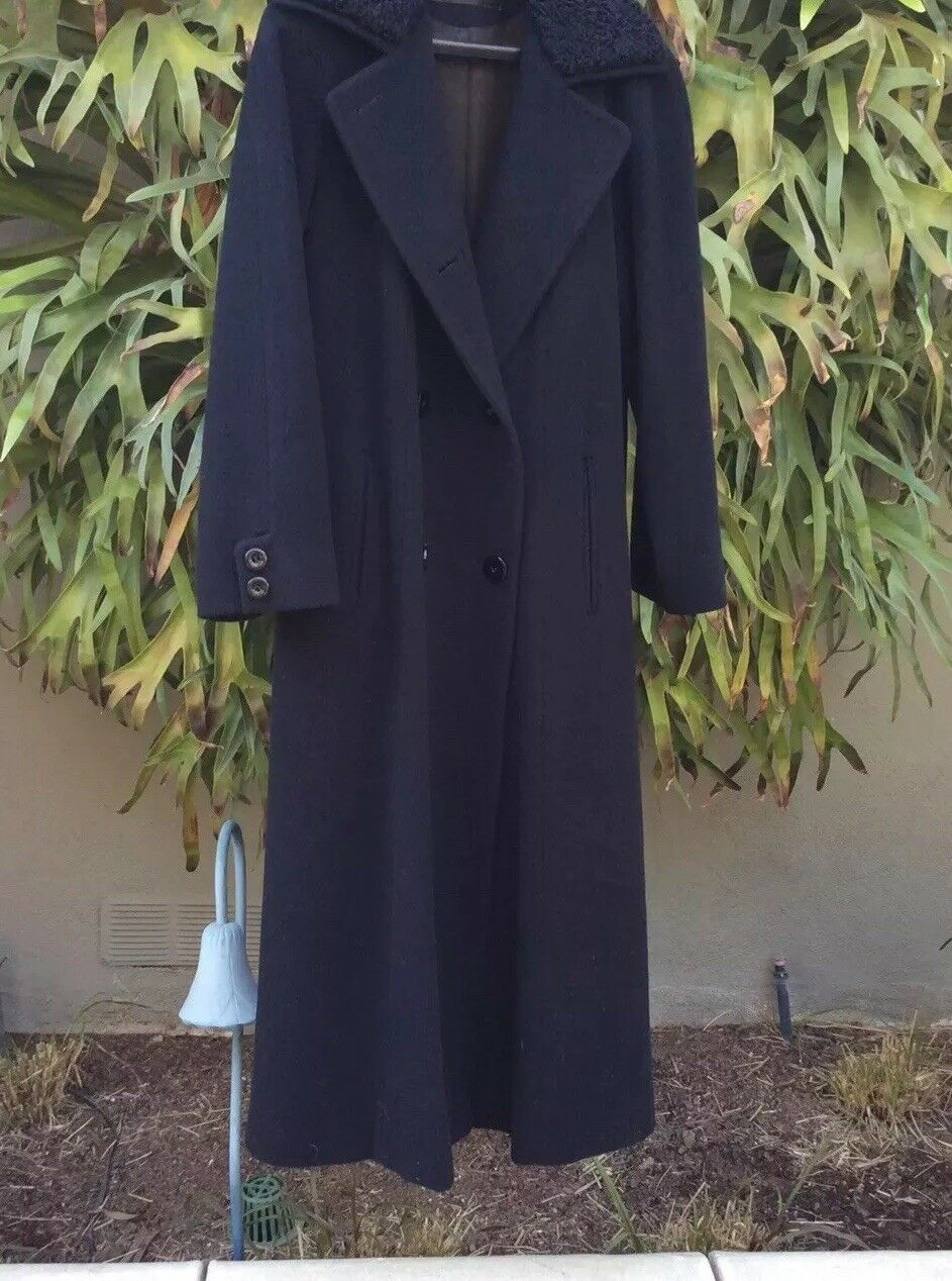 Arnold SCAASI Black Wool Couture Full Length Coat… - image 5
