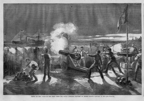 CIVIL WAR SHIP STAR OF THE WEST BEING FIRED UPON MORRIS ISLAND SOUTH CAROLINA