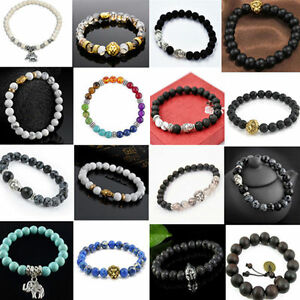 Natural-Gemstone-Beads-Buddha-Head-Beaded-Men-Women-Lava-Rock-Handmade-Bracelet