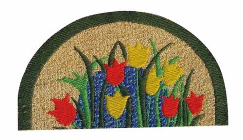 Escala 1:12 Medio Redondo Alfombra patrón de tulipán Chimenea Alfombra tumdee Casa De Muñecas 647