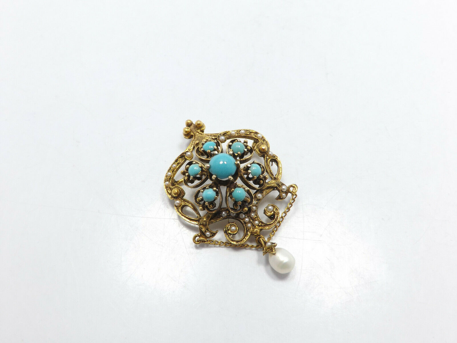 Vintage 14k Gold Persian Turquoise Seed Pearl Orn… - image 2