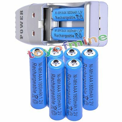 8 AAA NiMH rechargeable battery +USB Charger MP3 blue