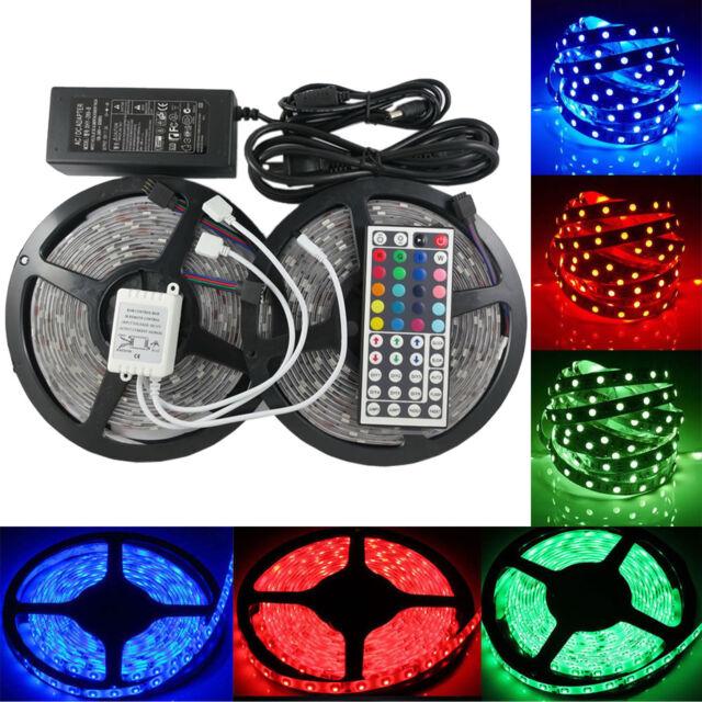1-30M SMD 5050 RGB LED Strip Light Flexible Lighting 12V IR Controller Adapter