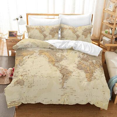 Retro-nostalgic World Map Bedding Set Duvet Cover Comforter Cover Pillow  Case | eBay
