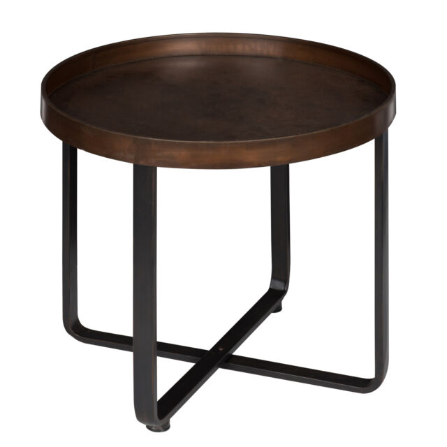 Excellent Zabel Round Metal End Table Bronze And Black By Kate And Laurel Andrewgaddart Wooden Chair Designs For Living Room Andrewgaddartcom
