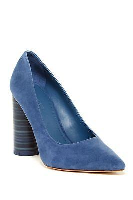 Pour La Victoire Cece Ocean Blue Suede Chunky High Heel Pointed Toe Dress Pump