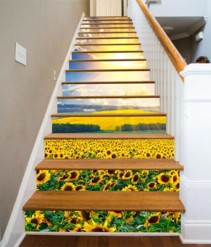 3D Sunflower Field 8Stair Risers Decoration Photo Mural Vinyl Decal Wallpaper AU