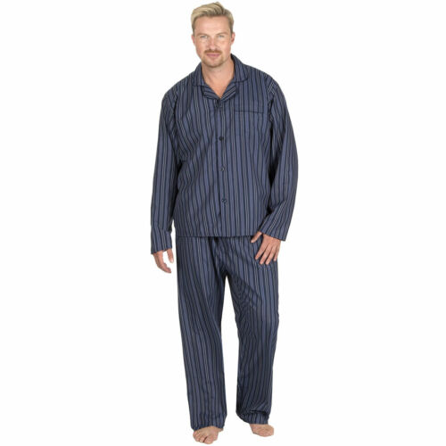 Mens Pyjamas Traditional Button Front Collar Stripe Check Pj Set Polycotton Suit