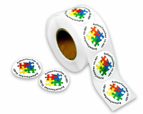 """Autism Touches Us All"" Stickers 1 Roll500 stickers total FREE SHIPPING"