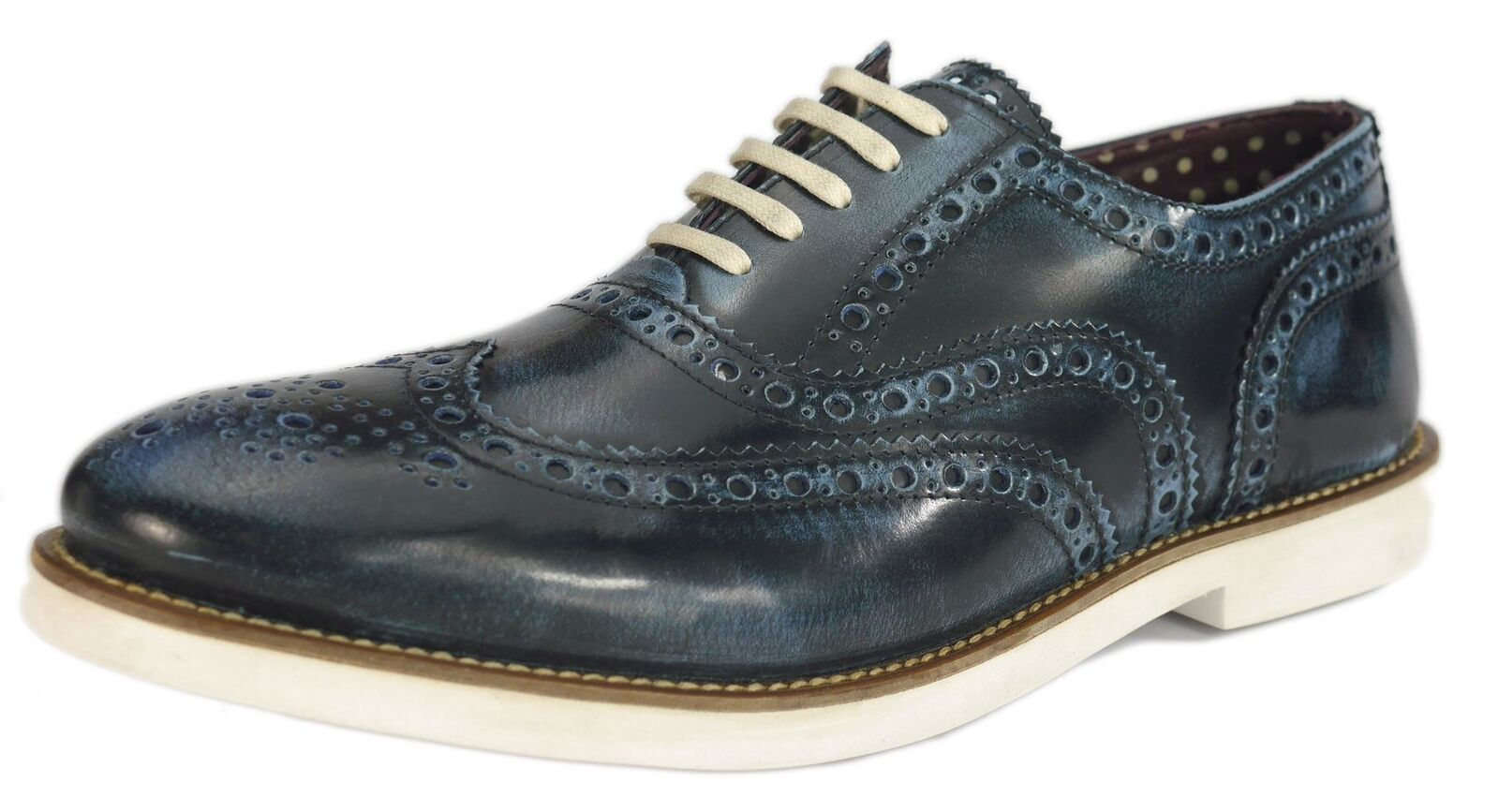 London Brogues Farnham Mens Lace Shoes Navy / White Formal