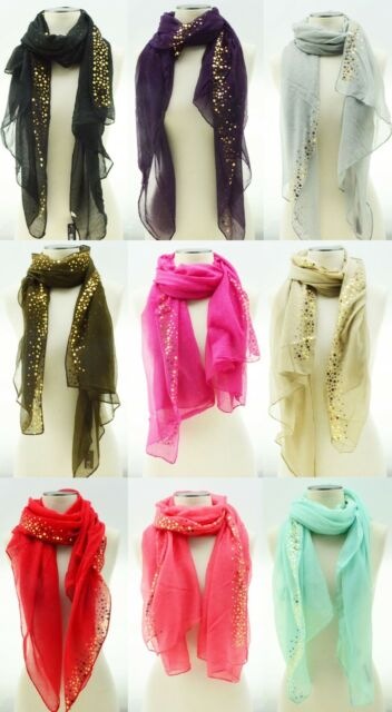 Sequin Scarf Long Hair Head Face Scarf Wrap Shawl Stole Style Fashion Women