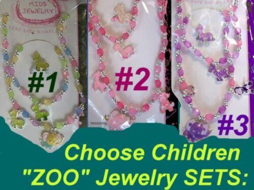 ZOO Giraffee Safari African Elephant Kid GIRL Children Circus Animal Jewelry SET
