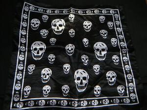 SILK FEEL SQUARE BLACK//WHITE SKULL UNISEX NECK HEAD SCARF BANDANA EMO GOTH UK