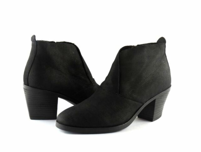 c8f99c365e82 Eileen Fisher Murphy Black Intaglio Nubuck Leather Ankle Boot Booties 6