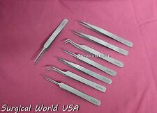 Set of 8 Swiss Jeweler Style Micro Forceps Tweezers Kit A+ Quality