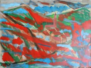 Andre-TELLIER-034-034-arriere-pays-varois-034-GOUACHE-amp-ACRYLvers-1960-70