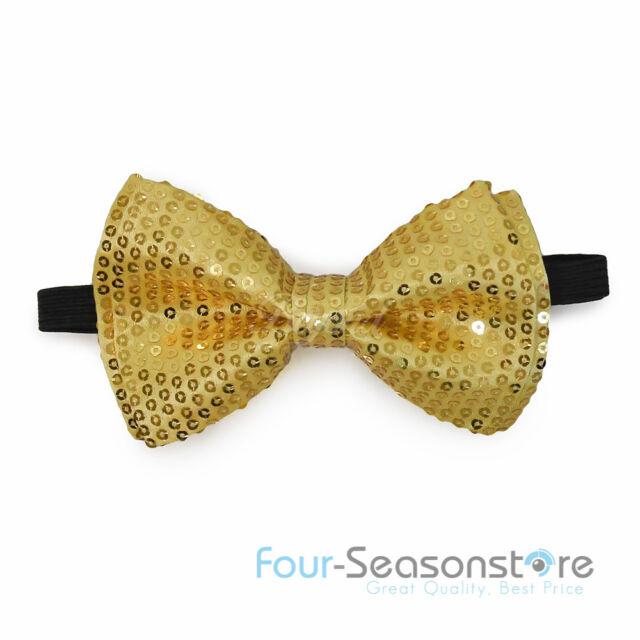 "New Style Tuxedo Classic BowTie /""Gold/"" Sequin Neckwear Adjustable Bow tie"