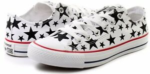 Image is loading Converse-White-Black-Starred-Men-Women-Trainers-Sport-