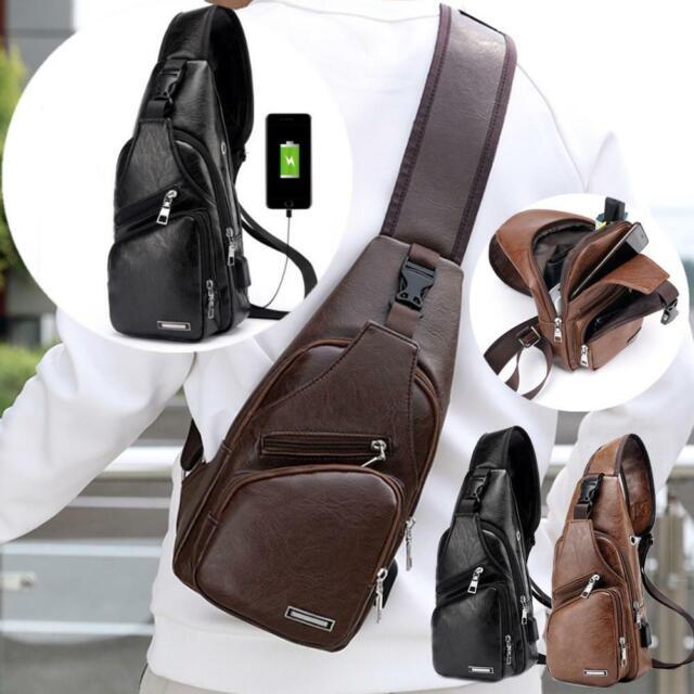 Mens Leather Single Shoulder Bag Crossbody Bag USB Sports Chest Casual Satchel