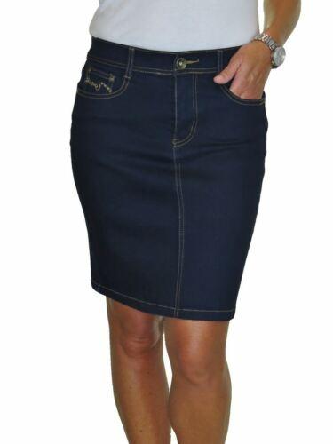 Womens Above Knee Denim Skirt with Sequins Detail Indigo Blue 20-24