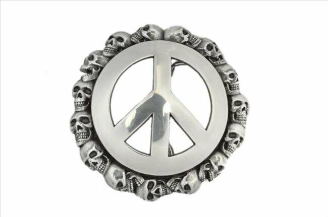Cierre Hebilla Cinturón-Hebilla de Metal broche de la muerte de la paz 4cm Hebillas Intercambiables