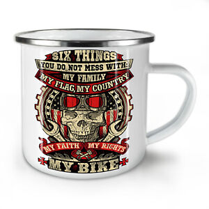 Biker Skull Family NEW Enamel Tea Mug 10 oz | Wellcoda