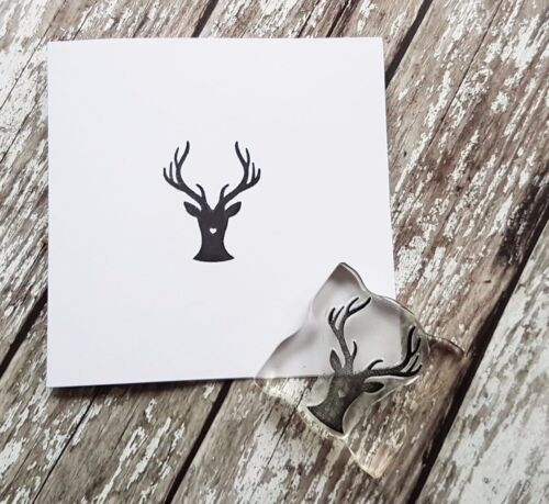 CARDS GIFT WRAPPING STAGS HEAD RUBBER STAMP CHRISTMAS