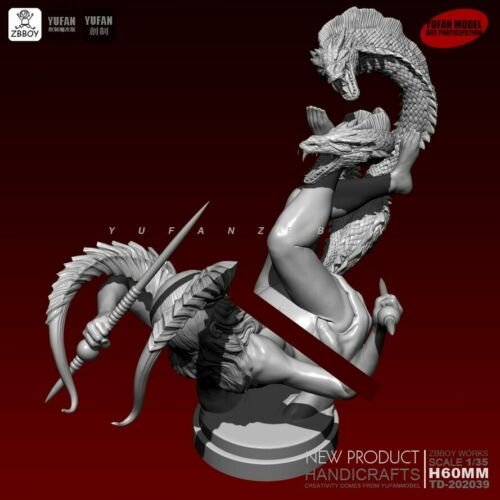 Details about  /1//35 Girl Fighting a Dragon resin scale 60 mm model Unassembled Figure
