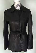 JAMES & JOHN Italy Womens Black Leather Button Faux Fur Lined Coat Jacket Size S