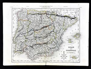 C 1849 Archer Map Spain Portugal Madrid Lisboa Barcelona