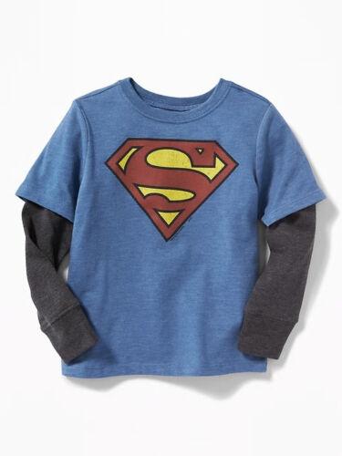 NWT Old Navy 2-in-1 DC Comics Superhero Superman Tees T-Shirt Long Sleeves 3 4 5