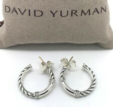 46b9269d1 DAVID YURMAN 22mm Metro Cable Hoop Earrings with Diamonds in Sterling Silver
