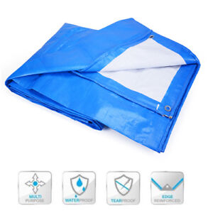 Details about Blue White Tarp Multipurpose Ground Cover Roof Boat Car  Construction Tarpaulin