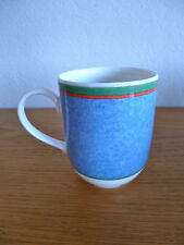 """Villeroy & Boch Tipo Viva 1 Coffee Mug  Blue Dimpled w/Red & Grn Bands 3 3/4"""""""