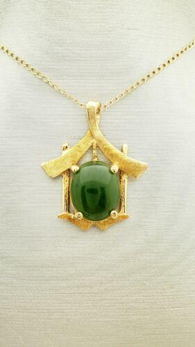 14K Gold Jade House Pendant- Vintage 1960s- Estate