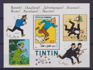 France-2000-Bloc-Fete-du-Timbre-N-28-TINTIN-MILOU-HERGE-NEUF-LUXE