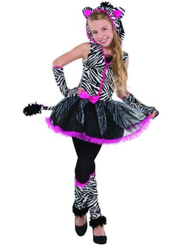 Older Girls Teens Sassy Stripes Zebra Animal Dance Carnival Fancy Dress Costume