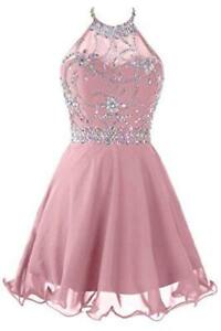 Topdress Women's Short Beaded Prom Dress Halter Homecoming, Blush Pink, Size