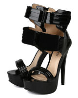 Bumper Bianca10 Women Patent Leatherette Quilted Stiletto Platform Heel