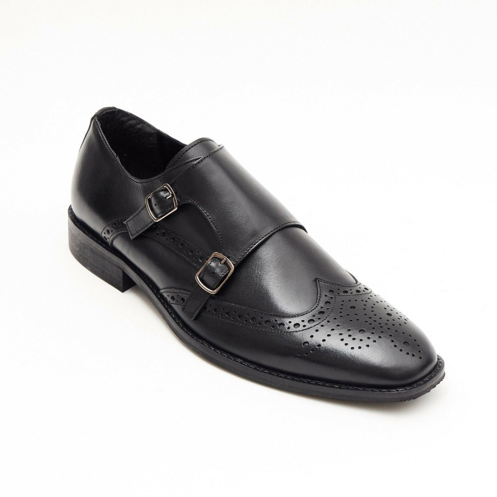Lucini Formal Men Black Leather Brogue Formal Heels Buckle Shoes Wedding Office