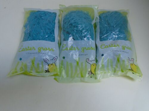 Blue Plastic Easter Grass Lot of 4 Packages