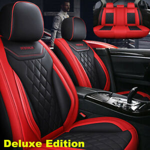 Black Red Car Seat Covers W Pillows Full Set Interior 5 Seat Car