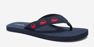 J.CREW J. CREW MEN'S BLUE NAUTICAL FLIP FLOPS 12 EMBROIDERED RED CRABS Size 12 FLOPS fa04aa