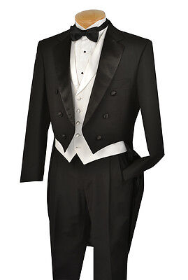 Vinci Mens Black with White Vest Tuxedo with Tails T-2X+ FREE garment bag !