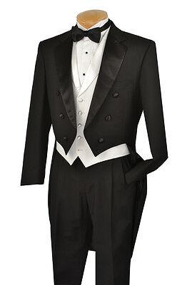 Vinci Mens Black with White Vest Tuxedo with Tails T-2X+ FREE garment bag !