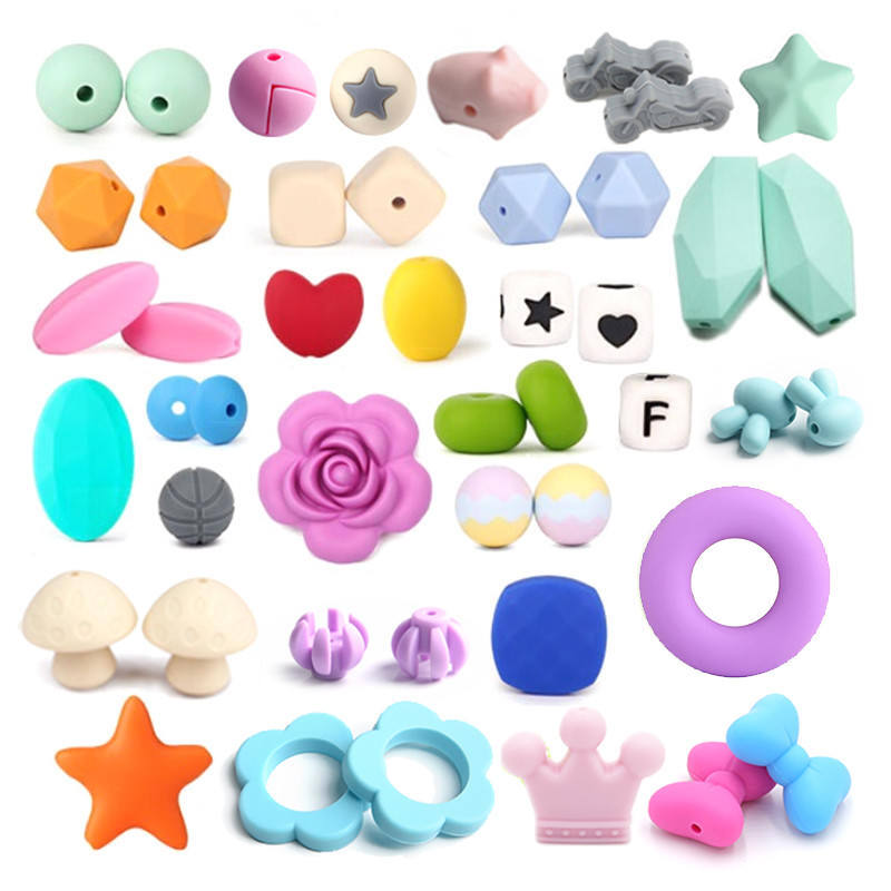 14MM Mixed Colors Hexagon Silicone Beads Baby Teether Toy Teething Necklace DIY