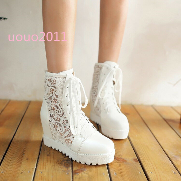 Women's Wedge Hidden High Heel Lace Up Lace Breathable Ankle Boots Fashion shoes