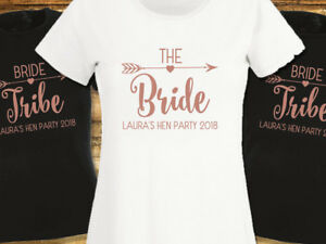 Rose-Gold-Hen-Party-T-Shirts-Bride-Tribe-T-shirt-Ladies-Printed-Personalised