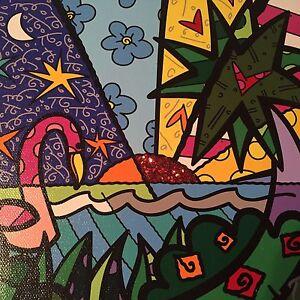 Romero-Britto-original-Druck-034-REAL-034-Leinwand-handsigniert-Rizzi-Pin