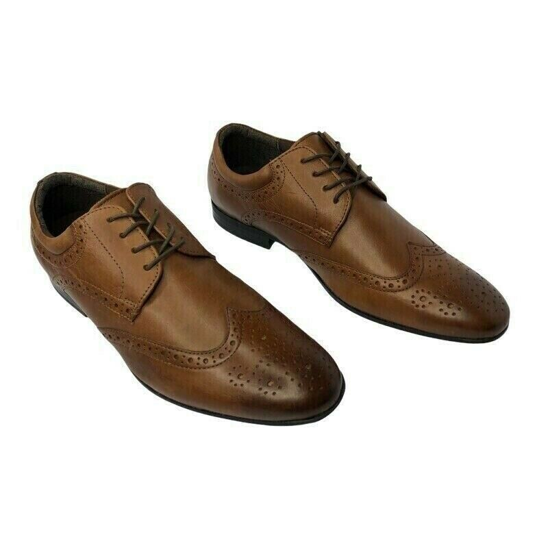 Kenneth Cole Reaction Mens Brown Leather Zeke Wingtip Oxford Dress Shoe 11.5 New